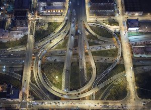 Aerial Shot of Freeway Interchange in Chicago