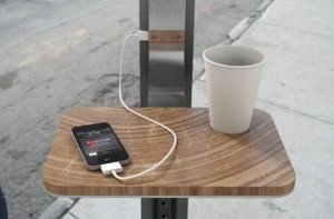 Solar Powered Mobile Charging station on a restaurant patio